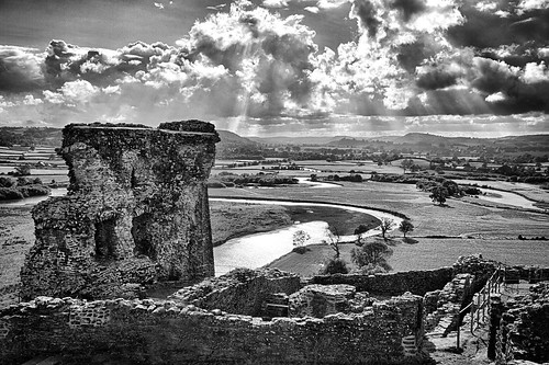blackandwhite detail castle history water grass stone wall wales clouds photoshop river landscape carmarthenshire scenery view ruin dramatic wideangle hills 7d hdr cs5
