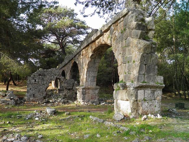 The ruins of the Roman aqueduct, Phaselis, Lycia, Turkey