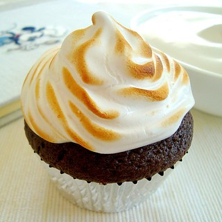 Chocolate cupcake with toasted marshmallow frosting