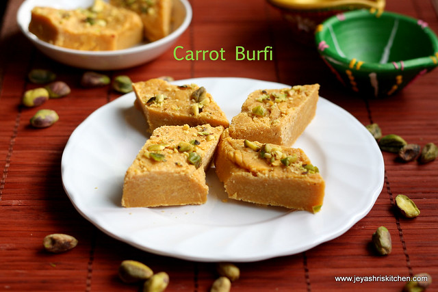 CARROT BURFI RECIPE | EASY DIWALI SWEETS RECIPE | Jeyashri\'s Kitchen