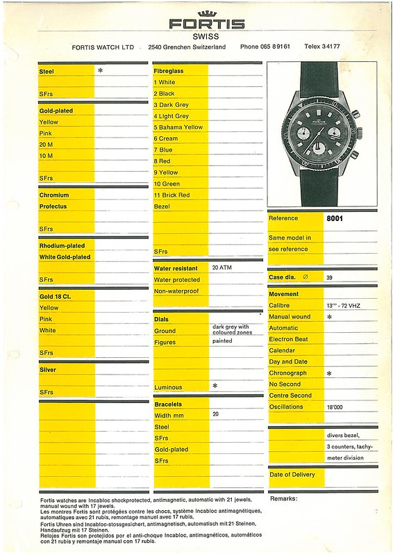 Fortis Marinemaster 8001 Spec Sheet