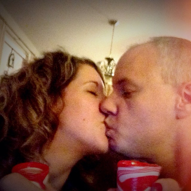 Celebrating the end of this Christmas night with my love. We picked up these silly candy cane shot glasses at the store a few weeks ago. Enjoying a shot and a kiss for all the hard work we put in to make this kids Christmas extra special. So nice to sit a