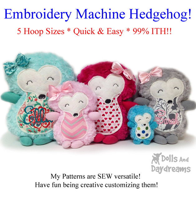 Hedgehog Embroidery Machine ITH Pattern