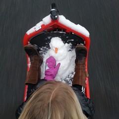 Here's a new one. The Lulu making a snowman WHILE we're cycling #vikingbiking