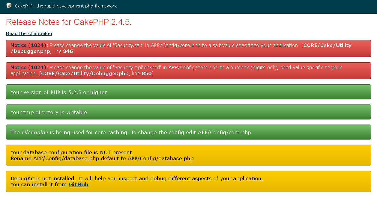 CakePHP 2.4 Installation