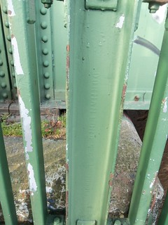 Dorman Long name on girder at side steps of Newport Bridge