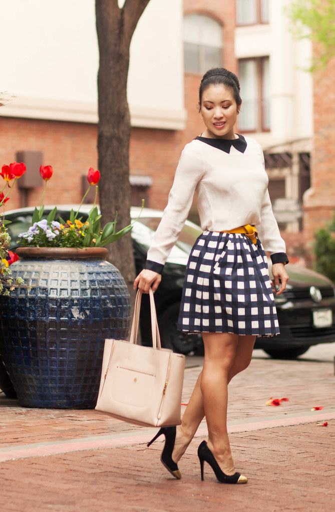 cute & little blog | petite fashion | zara tuxedo shirt, banana republic gingham check skirt, yellow accent belt outfit