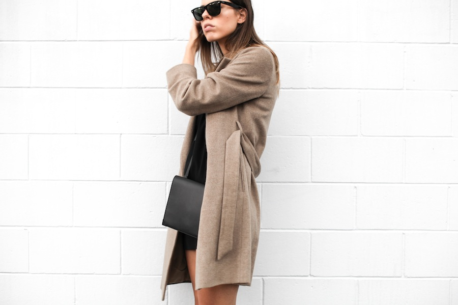 modern legacy blog camel long coat robe wool Zara slide sandals pool Alexander Wang Prisma Envelope cross body bag silk shift dress Nicholas black outfit street style blogger Australia (4 of 8)