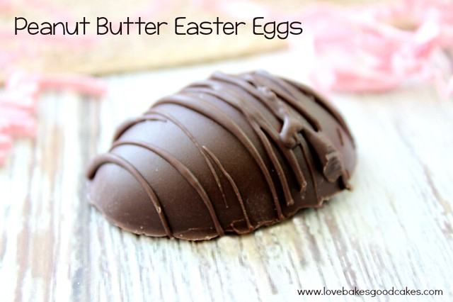 Peanut Butter Easter Egg close up with chocolate dip.