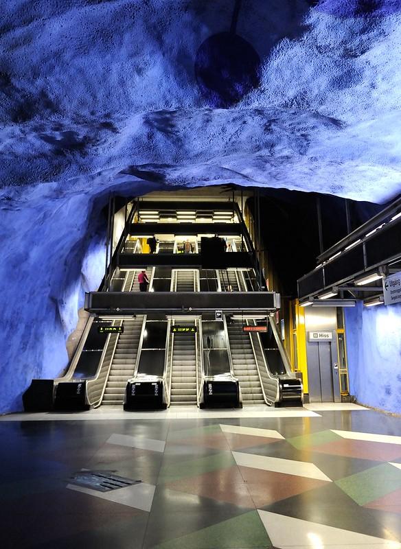 Escalators in T-Centralen station in Stockholm, Sweden