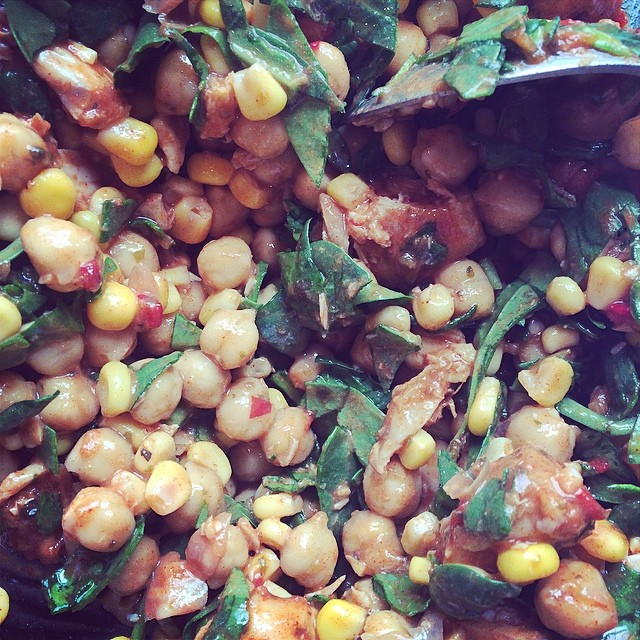 Might have to post about my latest salad adventure. Chickpea, sweetcorn & piri piri chicken salad.