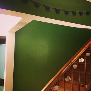 GREEN in our stairway! I love it.