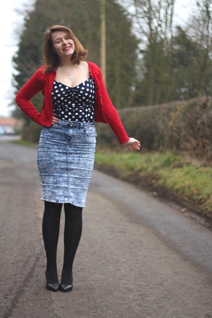 Collectif polka dot top, denim skirt