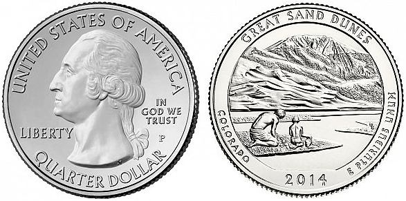 25 Centov USA 2014 S, Great Sand Dunes