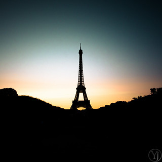 Silhouette, sunset on the Eiffel Tower