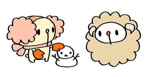雪だるまを作った耳あてむーと、それを見ているひつじむー