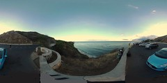 View from the Diamond Head Lookout next to the Amelia Earhart Marker  just before sunset  - a 360° Equirectangular VR