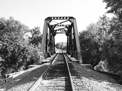 Through Truss Railroad Bridge over Ten Mile Creek, Lancaster, Texas 1305070936BW