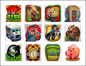 free Bust the Bank slot game symbols