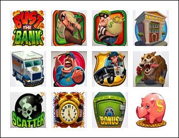 free Bust the Bank slot game symbols