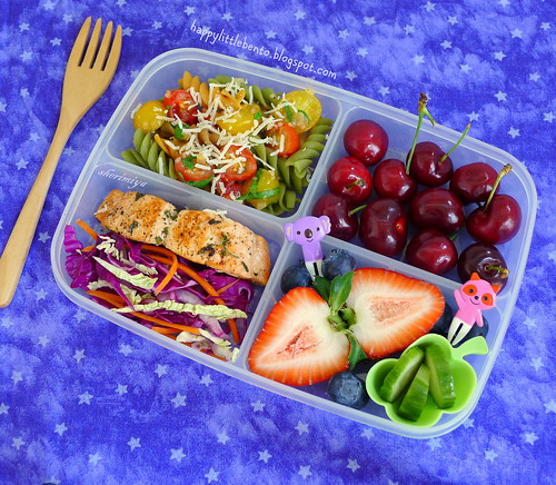 Salmon, Tomato Relish, and Slaw Bento by sherimiya ♥