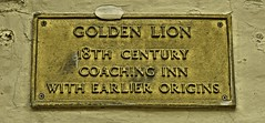 Photo of Golden Lion, Weymouth brown plaque