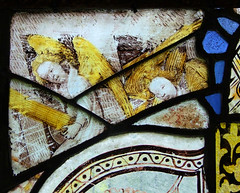 angels removing the stable roof to see the infant Jesus  (15th century)