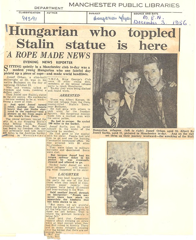 Hungarian who toppled Stalin statue is here, Manchester Evening News, 3 Dec 1956