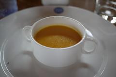 Lunch, second course: orange soup