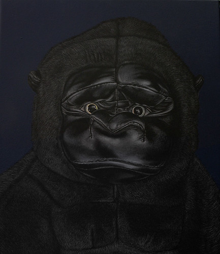 Adeel Uz Zafar, Protagonist (Kong and Godzilla) diptych, 2013, Engraved drawing on vinyl, 35.6 x 30.48 cm (LR)k