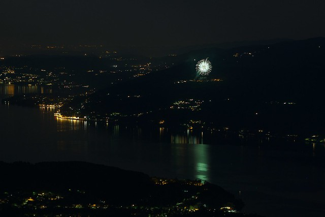 Fireworks over Lake Maggiore in Italy