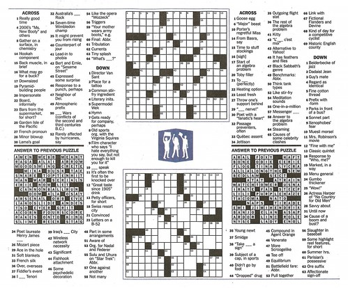 Bagder Herald crosswords, September 12, 2013