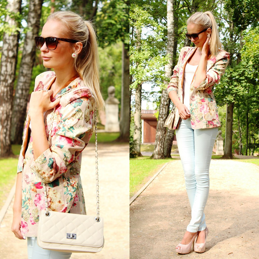 top seven outfits, top 7 outfits, fashion blog, fashion blogger, call me maddie, floral print blazer choies, elf sack blazer, pastel color jeans, light blue H&M jeans,