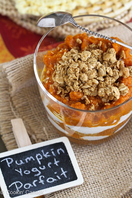 Healthy Spiced Pumpkin, Yogurt & Granola Parfait Recipe | cookincanuck.com #pumpkin #yogurt