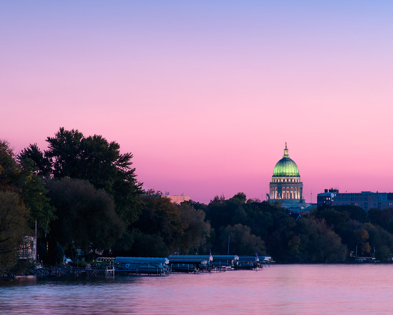 Wisconsin State Capitol At Sunset