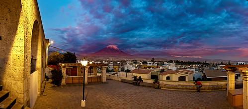 sunset peru arequipa misti volcan yanahuara