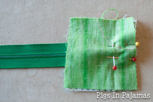Green ditty bag zipper