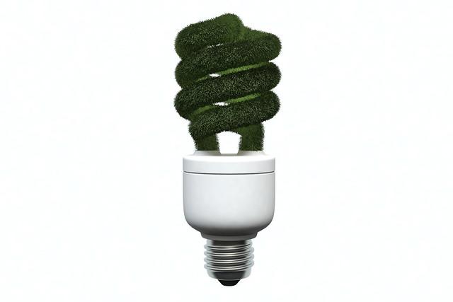 3D Green Light Bulb
