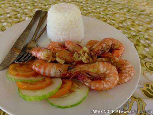 Butter & Garlic Shrimp with Rice at Gawad Kalinga Lodge & Restaurant in El Nido, Palawan, Philippines