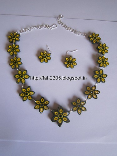 Handmade Jewelry - Paper Quilling Flower Jewelry Set (FAH0134) (3) by fah2305