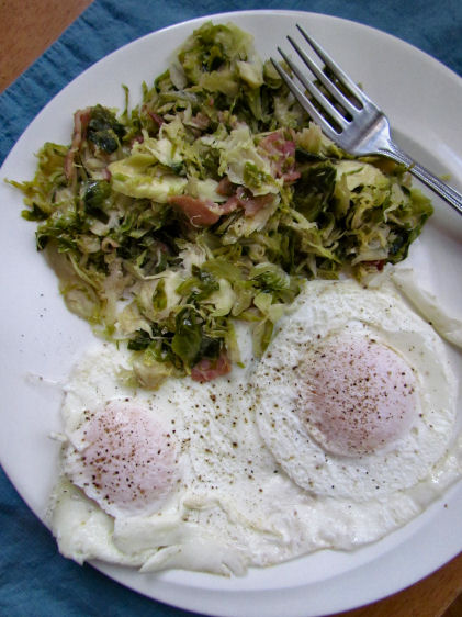 Shaved Brussels Sprouts for Breakfast