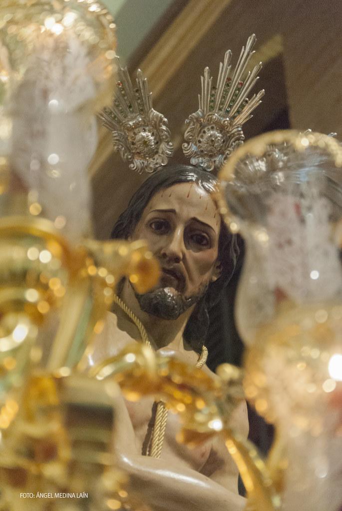 El Amarrao abre la Semana Santa de Setenil el Jueves Santo. Es una de las tallas más bonitas que procesionan en Setenil . Este Cristo atado a la Columna conserva su primitivo rostro, que data de 1803. Foto. ÁNGEL MEDINA LAÍN