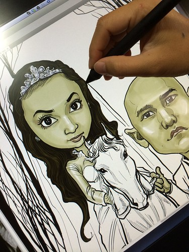 digital wedding couple caricature on horse