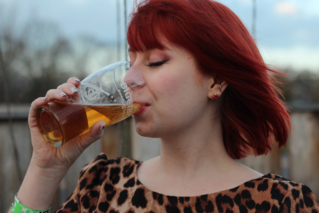 Red Hair, Craft Beer, and Pink and Burgundy Eye Shadow