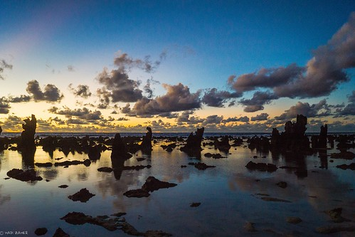 ocean morning sky cloud sun reflection beach water sunrise island dawn twilight rocks pacific south micronesia nauru