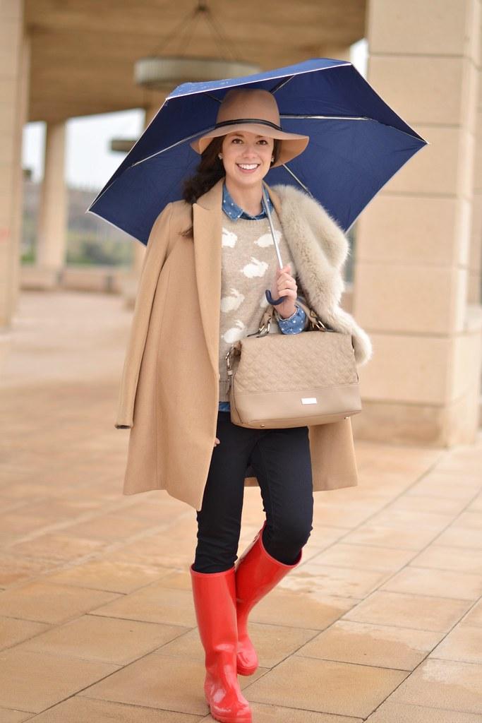 Look con botas de agua para llevar en días lluviosos