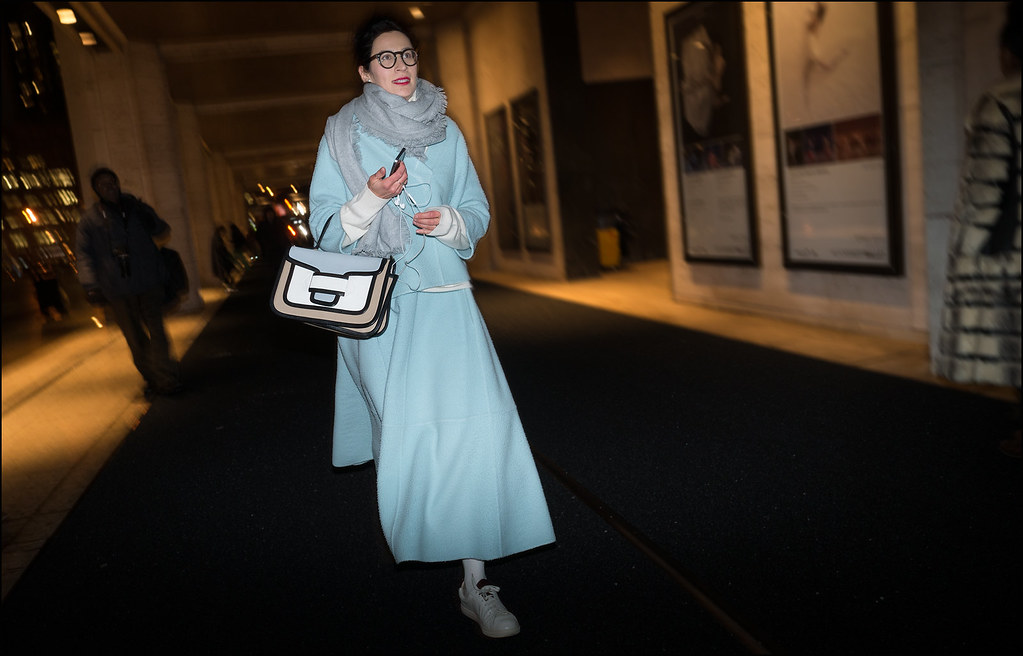 FW2-15 30w pale blue jacket and long skirt blue grey and white bag.white sneakers