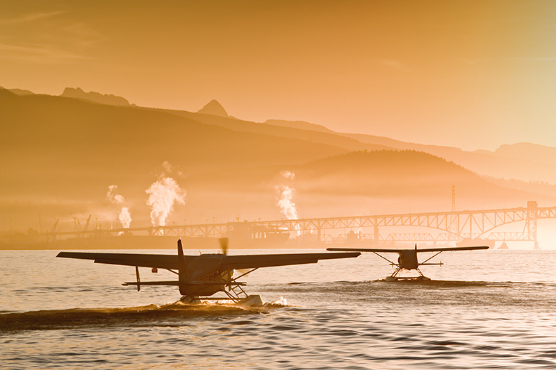 Seaplanes departing Vancouver, British Columbia, Canada.