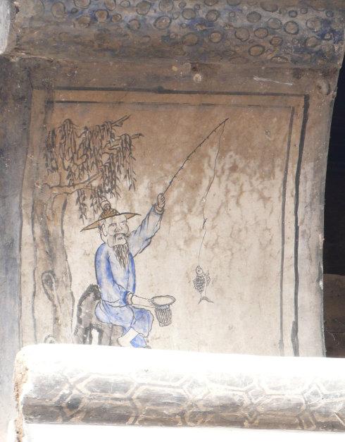 墙垛上的垂钓图