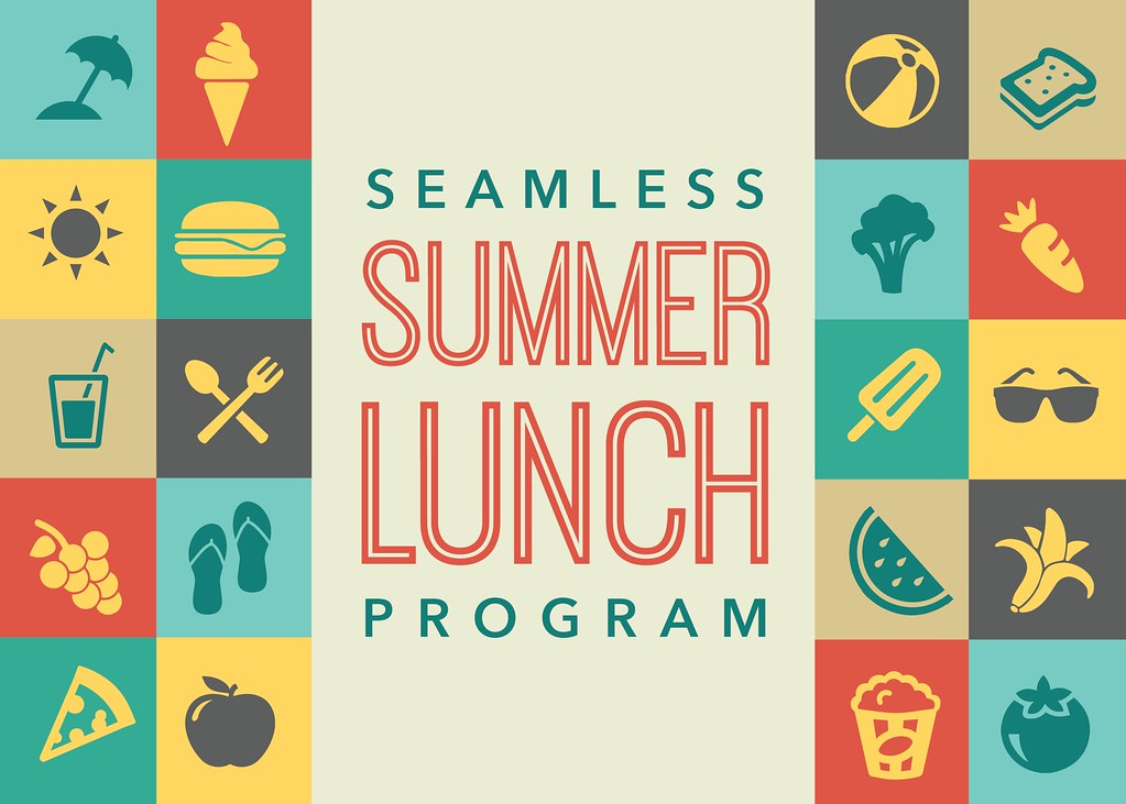 Graphic illustration of Seamless Summer Lunch Program and icons.
